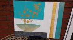 Acrylbild / Leinwand  Goldflower  Gr. 40 x 50 cm 100% HANDARBEIT