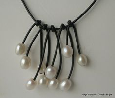 White pearl leather necklace by JudysDesigns on Etsy #dteam