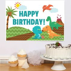 Little Dinosaur Party Personalized Party Poster 1st Birthday Party Supplies, Dinosaur Birthday Party, 1st Birthday Parties, Happy 7th Birthday, Happy 1st Birthdays, Party Poster, Gift Table, Party Signs, Jackson