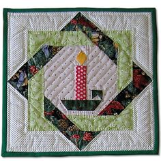 X mas quilt candle
