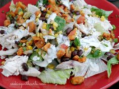 My Southwest Chicken Salad Fall adds roast sweet potatoes and corn to the black bean salsa, and is topped with a Chipotle Ranch Dressing.
