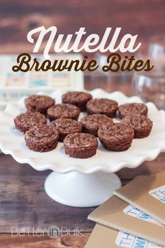 Love chocolate and nutella? These Nutella Brownies may come in a small package, but they pack a delicious punch! I accidentally came up with this dessert recipe when trying to make something else and couldn't love my Nutella brownie bites more! Quick Easy Desserts, Healthy Desserts, Delicious Desserts, Dessert Recipes, Quick Dessert, Dessert Ideas, Healthy Recipes, Finger Desserts, Mini Desserts