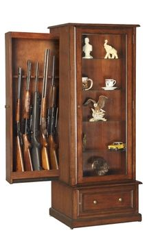 Hidden Gun Cabinet For 10 Guns Traditional Style Fine Furniture Wood With A Unique Sliding Storage Unit Behind The Lighted Curio Display