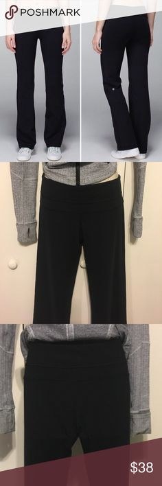 "🖤 Lululemon Flare Leg Yoga Pant in Black 🖤 Lululemon Flare Leg Yoga Pant in Black. These are a Lululemon original classic style. Most yoga studio pants tend to be very fitted. Slight flare for comfort and style. Size 8. Stretchy, cottony soft Luon will fit 4-10. S/L. Mid rise waist for coverage/comfort. These are long for me but I'm 5'3"". Keep in mind that Lululemon stores will do a free alteration on any of their clothing regardless of purchase date and wear. Pre-loved. Mild pilling but…"
