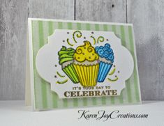 Whimsy Stamps Cupcake Treat Trio with Hero Arts Many Birthday Messages Handmade Birthday Card