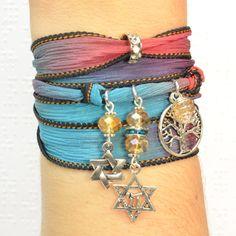 Jewish Silk Wrap Bracelet, Judaica Silk Wrap Bracelet, Star of David Silk Wrap Bracelet, Tree of Life Silk Wrap Bracelet, Chai Silk Wrap Bracelet by Beadtography