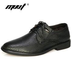 Plus size 38-47 Genuine Leather Shoes Men Oxford Breathable Hollow-out Dress Shoes Business Men Shoes Summer Formal Shoes