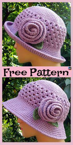 10 Most Beautiful Crochet Sun Hat Free Patterns #freecrochetpatterns #sunhat #hat