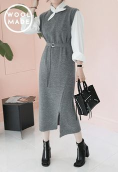 Belted Sleeveless Midaxi Knit Dress - Miamasvin loves u! Womens Clothing. Korean Fashion.