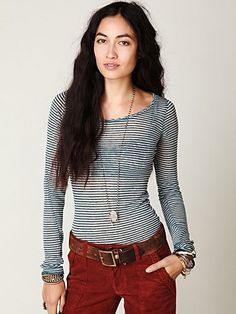 Free People Striped Burnout Top at Free People Clothing Boutique - StyleSays