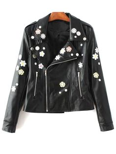 Floral Embroidered Lapel Collar Faux Leather Jacket