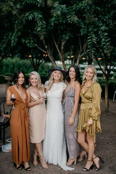 f020cb9c99 boho bride and mismatched bridesmaids in earthy tone dresses Bridesmaid  Dresses Mismatched Boho