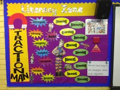 School Displays, Classroom Displays, Primary Resources, Teaching Resources, Teaching Ideas, Continuous Provision Year 1, Traction Man, Literacy Display, Working Wall