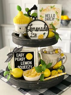 I'm sure you've all been thinking to yourself, what kind of tray is Andrea going to create for summer? No, I doubt any of you have been t. Lemon Kitchen Decor, Kitchen Tray, Tray Styling, Tiered Stand, Tray Decor, Easy Peasy, Stage Decorations, Diy Summer Decorations, Summer Themes