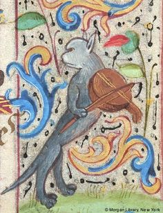 Cat playing a lute | from a French Book of Hours, 1480-1500 [Morgan Library] @Cat Museum