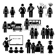 Student Teacher Headmaster School Children Stick Figure Pictogram Icon Clipart photo