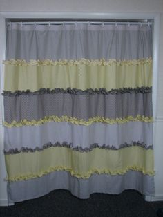Yellow and Gray Ruffled Shower Curtain by GiulianaDesign on Etsy, $75.00