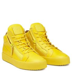Giuseppe Zanotti Kriss Men's Yellow Zip Detail Hi-top Sneakers $699 / 560 EUR, sold out. From Spring/Summer 2016 collection.