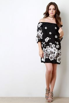 Night Flowers Off The Shoulder Shift Dress