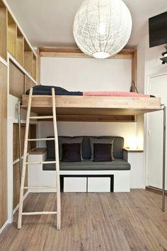 Chambre Adulte Petit Espace Canape En Gris Noir Et Blanc Grand Luminaire Boule