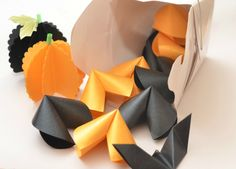 Halloween Treat, Mini Origami Fortune Cookies, Sweet / Candy alternative Set of 10 by PaperButterfliesM on Etsy