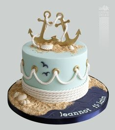 wedding anniversary - Cake by Marie-Josée - Maritime Torten - Wedding Cakes Beautiful Cakes, Amazing Cakes, Fondant Cakes, Cupcake Cakes, Anchor Cakes, Boat Cake, Nautical Cake, Nautical Theme, Nautical Wedding Cakes