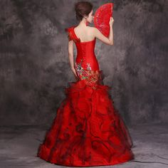 2016 Luxo Vestido de Noite Vermelho Chinês Tradicional Vestido Qipao Longo Cheongsam Vestidos de Casamento vestido de Noiva Oriental Robe Chinoise