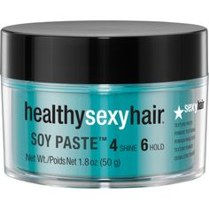 Healthy Sexy Hair Soy Paste is a firm, pliable pomade which combines a Soy-botanical blend & Cocoa extract. Creates ultimate texture, separation and moldability without flaking with a satin finish style. Hair Paste, Congested Skin, Texture Paste, Macadamia Oil, Hair Loss Women, Anti Aging Treatments, Hand Care, Dry Hands, Ms Gs
