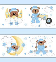 TEDDY BEAR NURSERY Wallpaper Border Decal Boy Woodland Animal Stickers Forest Friends Moon Cloud Star Baby Room Shower Gift Art Decorations #decampstudios