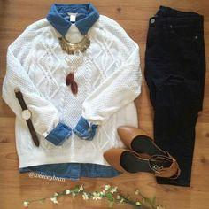Jersey blanco + camisa vaquera