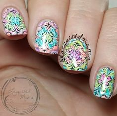 Stamping and Watercolor - Nail Art UberChic Beauty nail stamp plates!