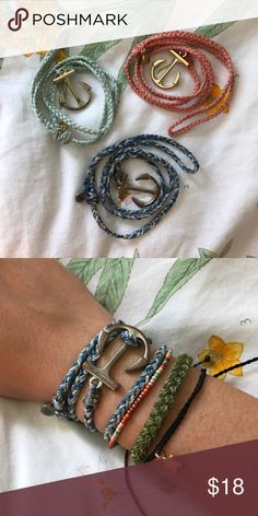 Pura Vida anchor wrap bracelets Coral w/ gold anchor, light blue w/ gold anchor, & blue/white w/ silver anchor. Adjustable & waterproof. Perfect for the beach or surfing! *$18 each or $45 for all 3! Or make an offer :-)* Pura Vida Jewelry Bracelets