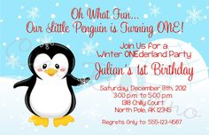 Winter ONEderland Penguin Minis perfect for table by ciaobambino