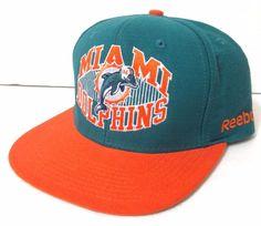 unworn MIAMI DOLPHINS SNAPBACK HAT flat-bill high-crown vtg-look WOOL Men/Women #Reebok #MiamiDolphins