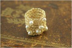 Кольца : Вязаное кольцо из голдфилда с жемчугом