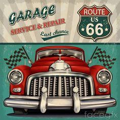 Retro fashion car poster vector
