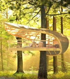 We've found the coolest treehouse ever! This relaxing eco-retreat is hidden in a North American forest.