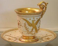 Unusual Antique Napoleonic French Porcelain Cup Saucer PL Limoges |