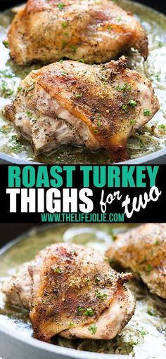 Jan 2019 - Not cooking for a crowd this Thanksgiving? No problem, I've got you! These Roast Turkey Thighs for Two are a mouthwatering, tender turkey dinner without the hassle of roasting a whole bird! Roasted Turkey Thighs, Baked Turkey Wings, Oven Roasted Turkey, Turkey Thigh Recipes, Roast Turkey Recipes, Turkey Dishes, Cooking Turkey, Thanksgiving Recipes, Crowd