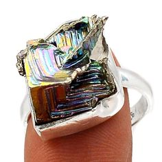 Bismuth-Crystal-925-Sterling-Silver-Ring-Jewelry-s-8-5-SR112980
