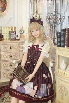 Honey Honey -The Library of the Cats- Sweet Lolita Jumper Dress