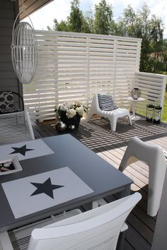 Home White Home: Terassiprojektin lopputulos Outdoor Furniture Sets, Outdoor Decor, Home, Patio Makeover, Outdoor Rooms, Outdoor Retreat, New Homes, Cool Fire Pits