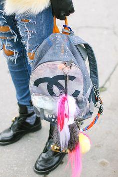 Chanel Backpack with Fendi Bag Charm Chanel Backpack, Fashion Backpack, Denim Fashion, Womens Fashion, Street Fashion, Net Fashion, Estilo Denim, Chanel Handbags, Shopping