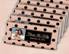 Cameo Pink and Black Wedding Favors: Personalized HERSHEY'S bars featuring your photo, names and wedding date. Add your thank you message to the back of the custom candy wrapper.