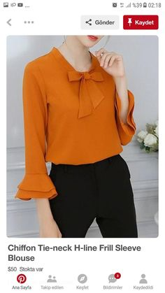 Chiffon Tie-neck H-line Frill Sleeve Blouse Dope Fashion, Korean Fashion, Womens Fashion, Blouse Styles, Blouse Designs, Trendy Dresses, Fashion Dresses, Camisa Formal, Sleeves Designs For Dresses