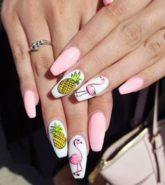 "Edmonton nails, Yeg on Instagram: ""Flamingo my Amigos? What a beautiful set Chi Wan did. Freehand nail art come on in! Wana learn 5 mins freehandnailart? * * #easy #quick…"""