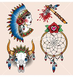 Tattoo Native American dream catcher set vector by Reinekke on VectorStock®
