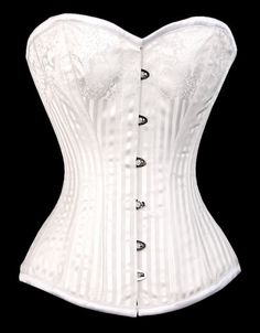 4466742bdb White Stripe Satin Corset - Low Price Steel Bone Corsets - Corsets - Love  Burlesque