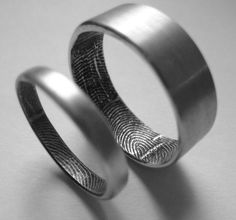 Wedding Ring fingerprint imprint. Your fingerprint on your spouse's ring and vice versa