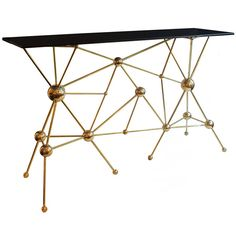 Polished brass ball and rod console with smoked glass top Unique Furniture, Table Furniture, Side Coffee Table, Side Tables, Console Shelf, Metal Wall Art Decor, Modern Console Tables, Shoe Cabinet, Best Interior Design